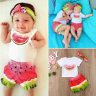 US Seller Baby 3pcs Girl Romper Top Watermelom Shorts Pants Outfits Clothes Set
