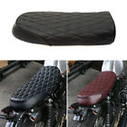 Motorcycle Flat Hump Saddle Retro Cafe Racer Vintage Seat Cushion Leather Custom $49.21 USD on eBay
