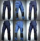 Внешний вид - Men Denim Utility Work Workwear pants Cordura Knee Reinforcement Work Trouser
