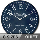 Navy Blue Whisper Quiet , Non ticking  Wall Clock Battery Operated Home Decor