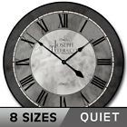 Grand Estate Gray Clock,   large wall clock, Ultra Quiet, 8 sizes, Life Warranty