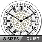 Big Ben White Silent Wall Clock Decorative Non Ticking Battery Operated