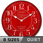 Harbor Red Wall Clock Whisper Quiet , Non ticking Battery Operated  Ultra Quiet