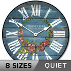 Barnwood Blue Floral Wall Clock Whisper Quiet Comes in 8 Sizes