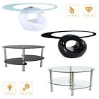 modern oval glass chrome coffee table side