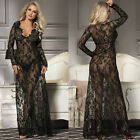 Women Sexy Lace See Through Long Tops V Neck Lingerie Nightwear Maxi Dress S-3XL