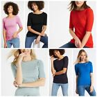 MARKS AND SPENCER Slash Neck Womens Cotton T Shirt Top Half Sleeve Was £8