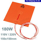 180W 110V / 220V 150x150mm 3D Printer Silicone Heater Heated Bed Pad Heating Mat