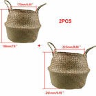 1/2PCS S/M/L Basket Folding Wicker Handle Round Natural Sea Grass Plant Storage