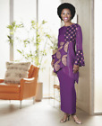 Внешний вид - Ashro Purple Gold Ethnic African American Queens Quad Skirt Set S M L XL 1X 2X