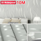 10m Retro Wall Paper Realistic Wood Optic Plank Panel Striped Wallpaper Roll Au