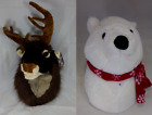 'Christmas Plush Singing Polar Bear & Reindeer Head Wall Hanging Ornament  Fun