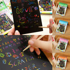 1 Book Scratch Scraping Magic Painting Paper Art Drawing Stick Toy for Kids