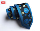 Mens Stylish Floral Jacquard Skinny Silk Tie Wedding Party Formal Necktie