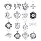Silver Pendant Necklace Interchangeable 18mm Snap Button Diy Jewelry Fit 20style