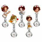 Women's Girl's Nurse Clip-on Fob Brooch Hanging Cartoon Quartz Pocket Watch image