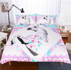 Twin Full Queen King Bed Set Pillowcase Quilt Cover rauo Pink Unicorn jhdjs