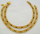 Yellow Gold Plated Rhinestone Anklets Payal Pair Indian Bridal Jewelry Bollywood