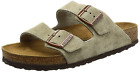 Birkenstock Women's Arizona 2-Strap Suede Leather Soft Footbed Sandals Taupe