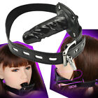 Restraint Leather Silicone Mouth Gag Harness Couple Game Bondage Oral Plug Toys