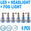 6Pcs Led Hi-Lo Headlight Kit & Fog Light Bulb A 6000K White H7 H11 H11