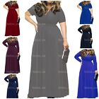POSESHE Women's Solid V-Neck Short Sleeve Plus Size Evening Party Maxi Dress