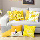 Yellow Polyester Pillow Case Sofa Car Waist Throw Cushion Cover Home Decoration image