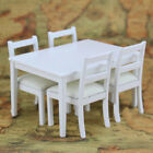 Doll House Miniature Black Dining Table And 4 Chairs Dollhouse Kitchen Accessory