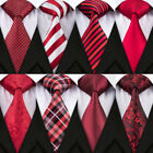 Men's Silk Red Neck Tie Set For Men Hanky Cufflinks Jacquard Woven Necktie Set