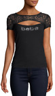 bebe Logo Shirt Rhinestone Lace PEAKABOO Top Black Stretch #2016 S,M, XL  - R15