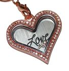 Rose Gold Love Heart Birthstone Locket Heart Necklace - Floating Glass Charm