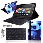 LEATHER STAND COVER CASE + Bluetooth Keyboard For Amazon Fire HD 10 2015/2017