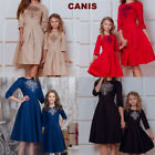 US Woman Kids Baby Girls Dress Long Sleeve Party Casual Family Matching Dresses