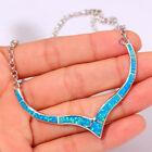 Large Vintage Humanoid Blue Opal Pendant Necklace Filled Fashion Women Jewelry