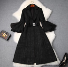 New Occident fashion popular suit neck makings tweed joker long warm trench coat