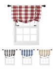 Oversized Plaid Gingham Check Tie Up Window Curtain Shades - Assorted Colors
