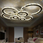 Two-color dimming Modern K9 Clear Crystal Ceiling Light Pendant Lamp Chandelier