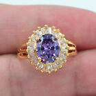 18K Yellow Gold Filled Women Royal Purple Topaz Solitaire Engagement Gems Ring image
