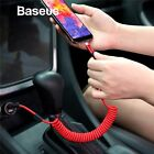 Baseus Retractable Coiled Spring Type C USB-C Car Fast Charging Data Sync...