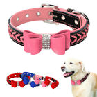 Dog Collar Braided Leather Padded Bowknot for Small Medium Large Dogs Pink Red