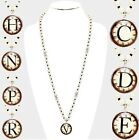 Long Pearl Necklace Initial Monogram Letter Name Imitation Watch Roman Numerals