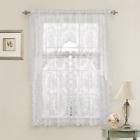 Lena Floral Lace Complete Kitchen Curtain Tier & Swag Set - Assorted Colors