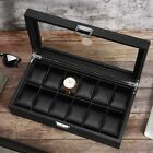 6/12 Slots Watch Box for Men Luxury Carbon Fiber Design Display Case Storage US