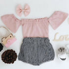 USA Cute Baby Girl Off Shoulder Tops Plaid Shorts 2pcs Outfits Clothes Summer