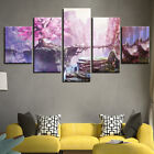 Pink Cherry Blossom Anime 5 Pieces Canvas Art Hd Print Picture Home Wall Decor