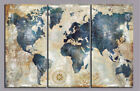 Vintage Blue World Map 3 Piece Canvas Wall Art Picture Painting Home Decor