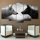 5pcs canvas Wall Art BLACK AND WHITE WOLF Picture - Natural Printed Home Decor