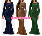 Women Side Mesh Spliced Sexy Shiny O Neck Slim Mermaid Hollow Out Party Dress #P