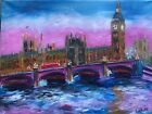 Original oil painting on canvas London Big Ben Westminster FAUVISM