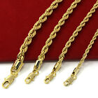 Mens 14k Yellow Gold Plated Width 3 4 5 6mm French Rope Link Chain Necklace image